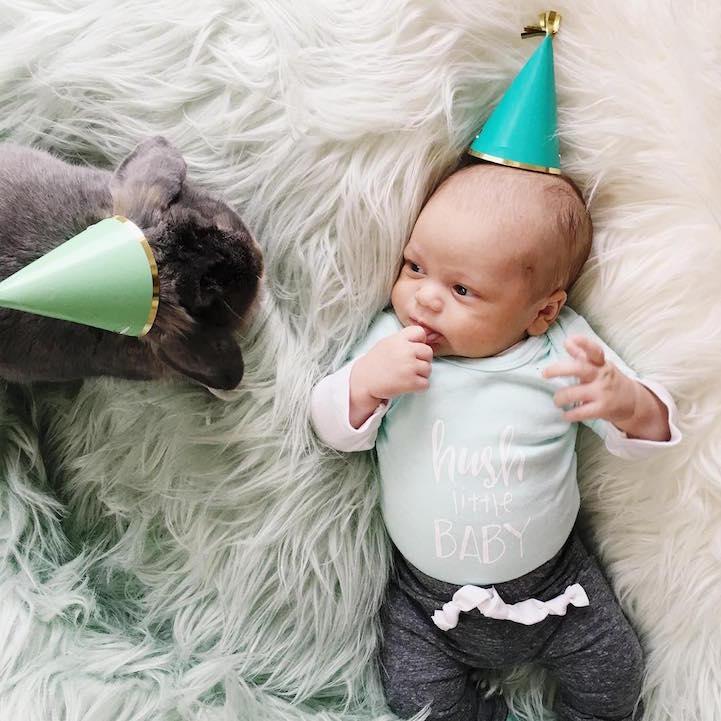 fotos bebé y su conejo