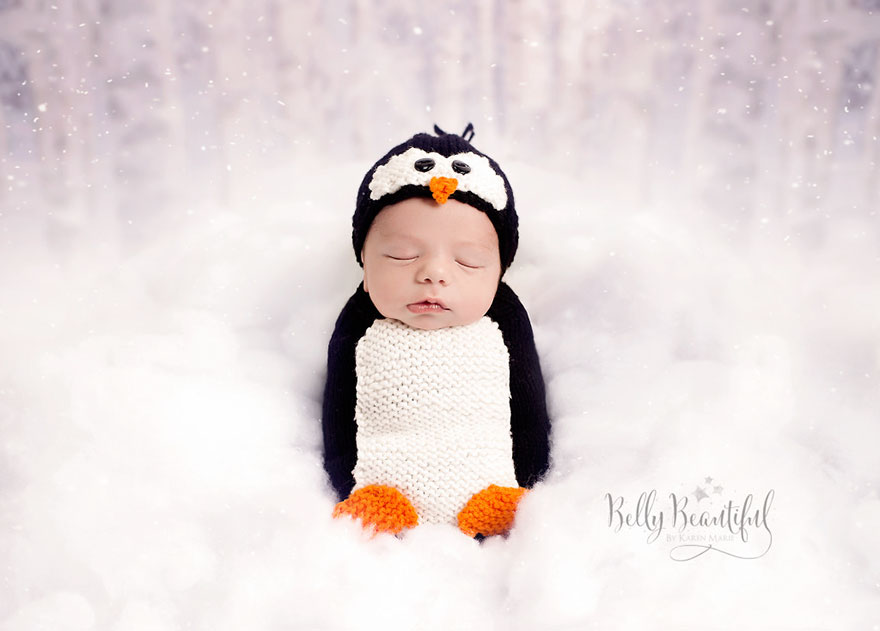 bebé pingüino sesión de fotos Navidad