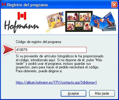 código de registro Hofmann 410879