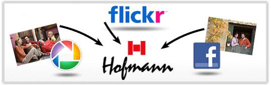 Incluye fotos desde flickr, picasa y Facebook