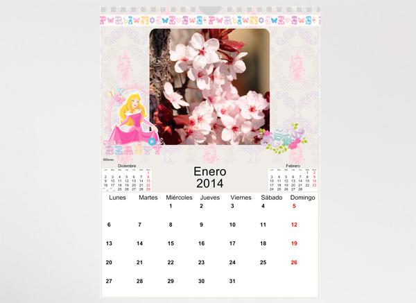 Calendario Princesas Disney en formato 22x30 cm